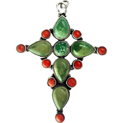 Large Arts & Crafts Coral and Turquoise Sterling Silver Cross Pendant