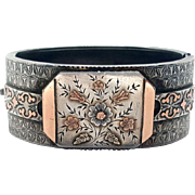 Magnificent Tri-Color Gold and Silver Victorian Aesthetic Buckle Bangle