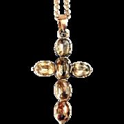Gorgeous Georgian 15K Gold Foil Backed Topaz Cross Pendant