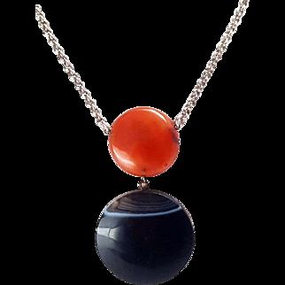 Impressive Victorian Sterling Silver Scottish Agate Disc Necklace