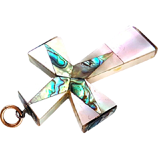 Victorian Mother of Pearl Abalone Inlay Cross Pendant