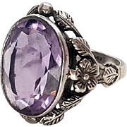 Gorgeous Arts & Crafts 7.75-8ct Amethyst Shiptonia Sterling Silver Ring