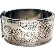 Gorgeous 1893 Sterling Silver Victorian Repoussé Floral Aesthetic Bangle