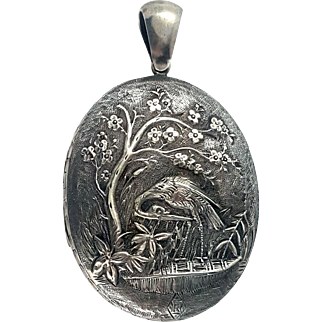 Beautiful 1842 Victorian Repoussé Sterling Silver Egret Locket