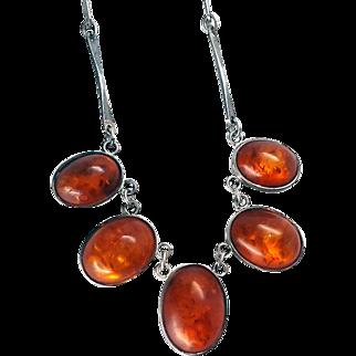 Beautiful Arts & Crafts Baltic Amber Sterling Silver Bib Necklace