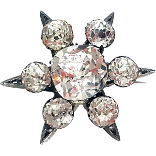 Amazing Victorian Silver Crystal Paste Star Brooch/Pendant