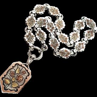 Stunning Victorian Gold & Silver Locket and Bookchain Collar Set