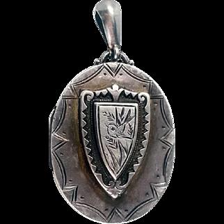 Beautiful Victorian Engraved Bird Sterling Silver Shield Locket 1883