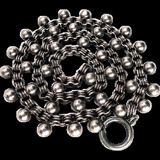 Victorian Sterling Silver Belcher Link Ball Book Chain