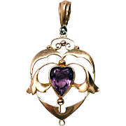 Art Nouveau 9K Gold Amethyst Heart Pendant