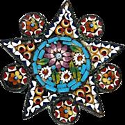 Dainty Victorian Gold Fill Micromosaic Star Brooch