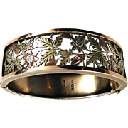Victorian Tri-Color Gold and Silver Aesthetic Sunflower Bangle