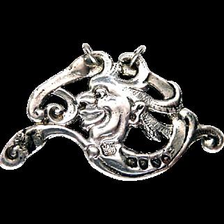 Victorian Sterling Silver Joker Pendant