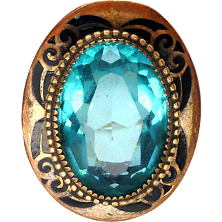 Huge Art Deco 10K Gold Blue Zircon & Enamel Cocktail Ring
