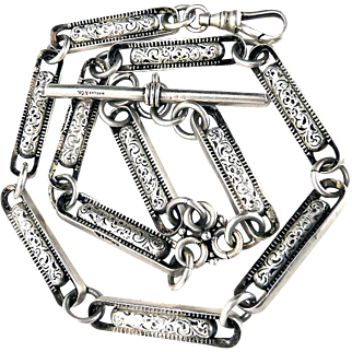 Antique Tiffany & Co. Sterling Silver Watch Chain Necklace