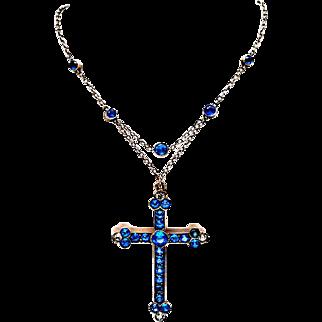 Stunning Art Nouveau Gilt Silver Paste Festoon Cross Necklace
