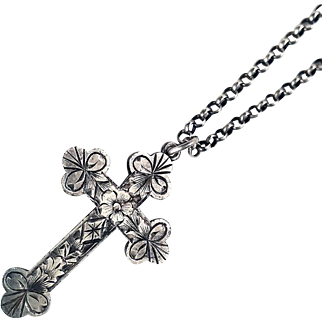 Lovely Victorian Sterling Silver Engraved Cross Necklace