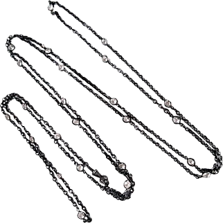 Lovely Victorian Gunmetal and Crystal Long Muff Guard Chain