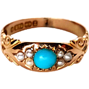Stunning Victorian 9K Gold Turquoise and Pearl Engagement Ring