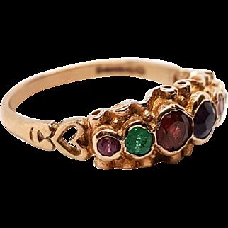 Beautiful Victorian 9K Gold REGARD Lover's Heart Ring