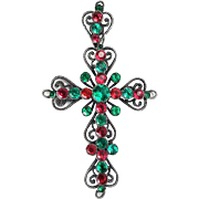 Stunning Large Victorian Green and Red Paste Cross