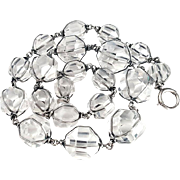 Unusual Geometrical Art Deco Pools of Light Silver Crystal Necklace