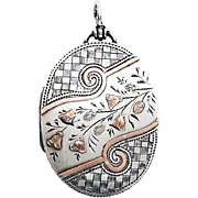 Gorgeous Victorian Floral Tri-Color Gold and Silver Aesthetic Locket 1880