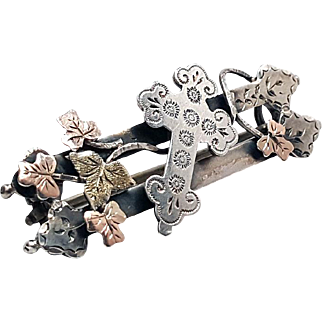 Victorian Sterling Silver and Gold Aesthetic Sweetheart Cross Brooch