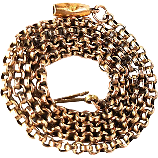 Fine Victorian Rolled Rose Gold Belcher Chain