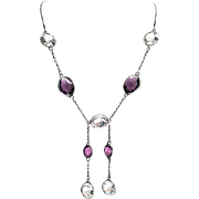 Gorgeous Art Deco Amethyst Crystal Sterling Silver Drop Necklace