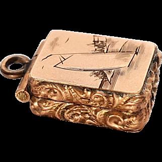 Tiny Edwardian Gold Filled Sailboat Locket Poison Box Charm