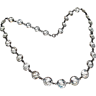 Long Art Deco Silver Rock Crystal Bezel Necklace