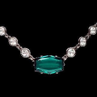 Gorgeous Art Deco Emerald Crystal Sterling Silver Bezel Set Necklace