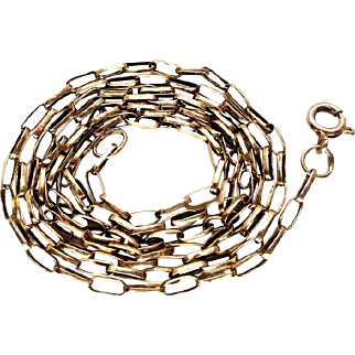 Extra Long Victorian 9k Gold Chain Necklace