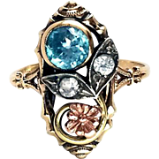 Sweet Art Nouveau 10K Gold Blue Zircon & Diamond Spinel Ring