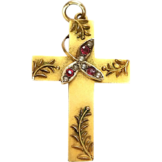 Gorgeous Edwardian 9K Gold, Pearl & Ruby Paste Cross Pendant