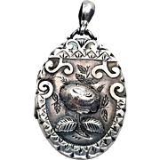 Beautiful Victorian Repousse Rose Sterling Silver Locket 1885