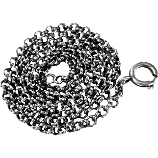Unusual Antique Sterling Silver Textured Belcher Chain
