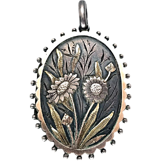 Amazing Victorian Tri-Color Gold and Silver Sunflower Locket 1881