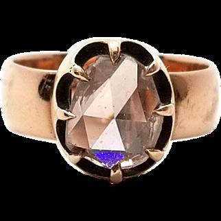 Antique 2 Carat Rose Cut 10K Gold Champagne Diamond Ring