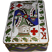 Brass & Enamel  Playing Cards Box & Chinese Playing Cards