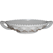 Sawtooth Milk Glass Two Handled Dish