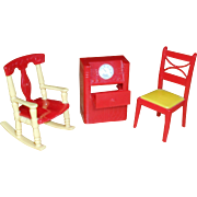 Renewal Doll House Furniture, Radio Cabinet, Rocking Chair & Table Chair
