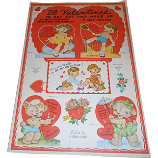 1940's A-Meri_Card Cut Out Book Of 28 Valentines, 22 Envelopes & 6 Self Mailers