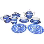 1940's-1950's Blue Willow Child's Tea Set, Made in Japan For Two. Wonderful set for your Large Bisque Dolls Vignette.