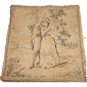 "Older French 9 1/2 x 9 1/2"" Tapestry of Colonial Dressed Man & Woman Walking in Garden Setting FREE SHIPPING USA"