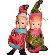 Christmas Elves, 1960's, Knee Hugger Burlap Wearing Elves