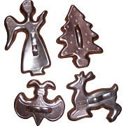 Older Copper Christmas Cookie Cutters, Four, Angel, Tree, Reindeer& Fleur-DE-Lis.