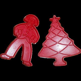 Vintage Tupperware Cookie Cutters, Christmas Tree & Gingerbread Man Both Red Plastic