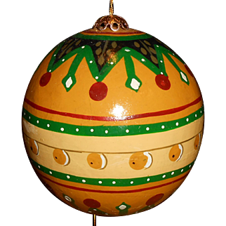 Hand Painted Wood Ornament 1970's